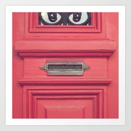 Cartas - Letters (Pink vintage door with old mailbox) Art Print
