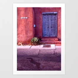 blue door red wall Art Print