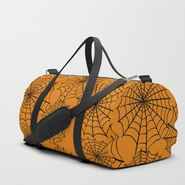 Black orange hand painted halloween spider web pattern Duffle Bag