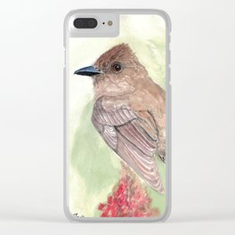 Watercolor Birds: Eastern Phoebe Clear iPhone Case