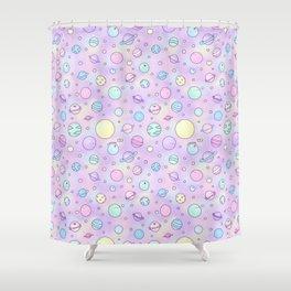 Pastel Planets Doodle Shower Curtain