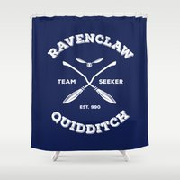 ravenclaw Shower Curtains featuring Ravenclaw Quidditch Team Seeker: Blue by Sharayah Mitchell