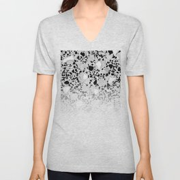Concrete Terrazzo and Black and White Modern Monochrome Design Unisex V-Neck