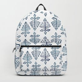 White and Navy Block Print Backpack