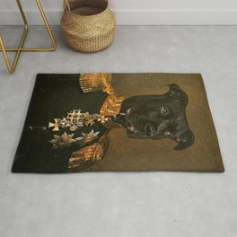 Pitbull General Portrait Painting   Dog Lovers! Rug
