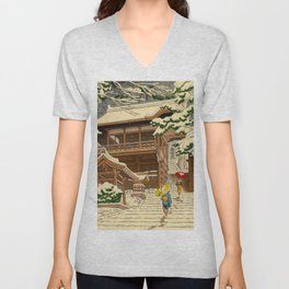 Asano Takeji Snow In Yuki Shrine Vintage Japanese Woodblock Print East Asian Beautiful Art Unisex V-Neck