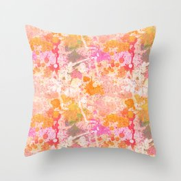 Abstract Paint Splatters Pink & Orange Throw Pillow