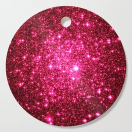 Hot Pink Glitter Galaxy Stars Cutting Board