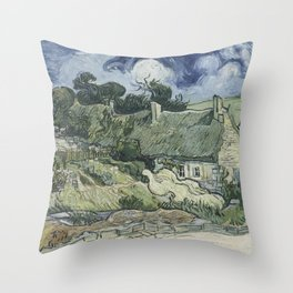 Thatched Cottages at Cordeville Throw Pillow