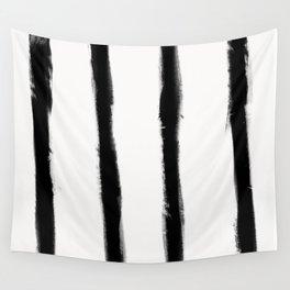Medium Brush Strokes Vertical Black on Off White Wall Tapestry