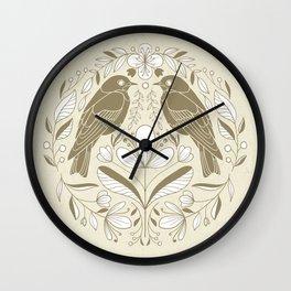 White and Gold Bluebird Folk Art Wall Clock