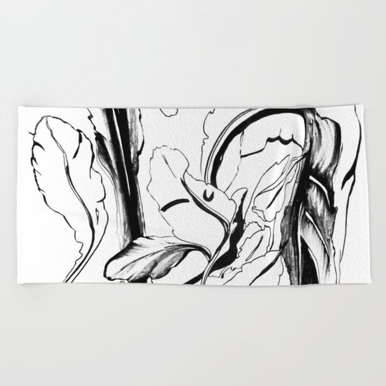 Plant in Blue Marker - Leaf of Life Miracle Leaf - Black and White Beach Towel