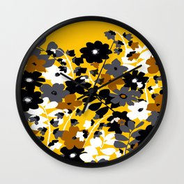 SUNFLOWER TOILE YELLOW GOLD BLACK GRAY AND WHITE Wall Clock