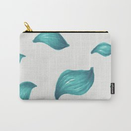 Icy bright blue turquoise leaf pattern Carry-All Pouch