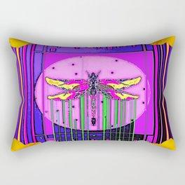 Modern ART DECO Gold Hibiscus & Dragonfly  Art Rectangular Pillow