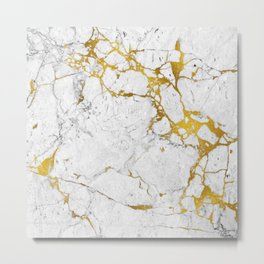 Gold on marble Metal Print