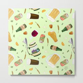 Cute Beer Pattern Metal Print