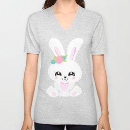 Cute Bunny, White Bunny, Bunny With Flowers Unisex V-Neck