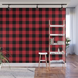 Buffalo Plaid Bright Red and Black Pattern Minimal Graphic Design Wall Mural
