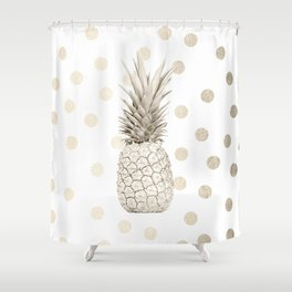 Gold Pineapple Polka Dots 1 Shower Curtain