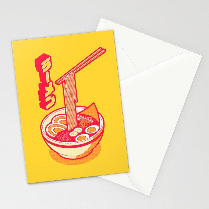 Japanese Ramen Isometric Minimal - Solid Yellow Stationery Cards
