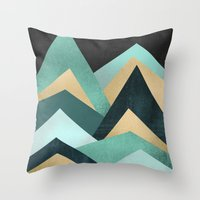 waves Throw Pillows featuring Waves by Elisabeth Fredriksson