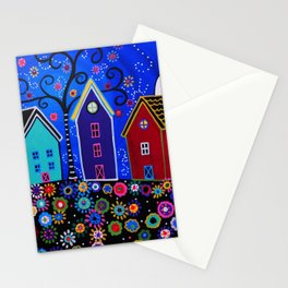 Mexican Pueblo Folk Art Town Painting Stationery Cards