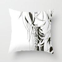 kuroshitsuji Throw Pillows featuring Kuroshitsuji Undertaker by Reira Hoshikuzu