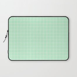 Mint Green with White Grid Laptop Sleeve