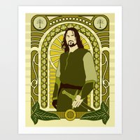 aragorn Art Prints featuring Aragorn by Angelo Rabbit