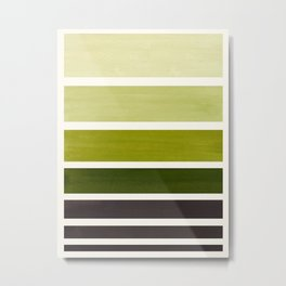 Olive Green Minimalist Watercolor Mid Century Staggered Stripes Rothko Color Block Geometric Art Metal Print