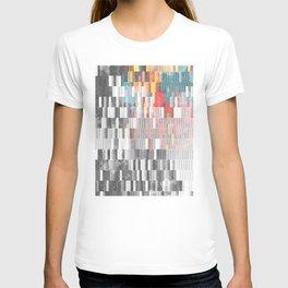 Vibrant Graffity on Black and White Geometry T-shirt