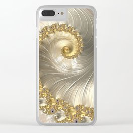 Gold and Pearl Fractal Swirl Clear iPhone Case