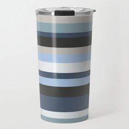 Horizontal Blue Stripes Travel Mug