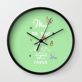 Hunger Game quality calligraphy - black version - green Wall Clock