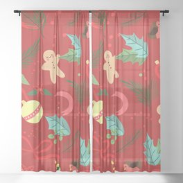 Christmas Pattern Sheer Curtain