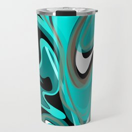 Liquify 2 - Brown, Turquoise, Teal, Black, White Travel Mug