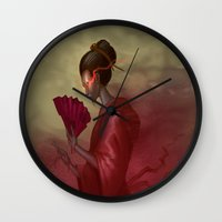 blood Wall Clocks featuring Blood by Yoncho Yonchev