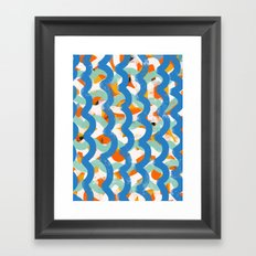 Blue Summer Pattern Decoration Framed Art Print