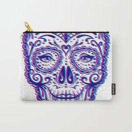 Sugar Skull (Calavera) Chromatic Aberration - Cyan Magenta Carry-All Pouch