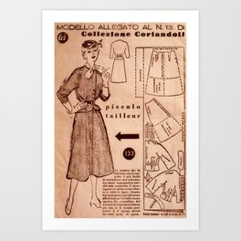 1950's vintage sewing pattern VIII Art Print