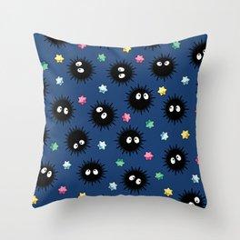 Soot Sprites (Dark Blue) Throw Pillow