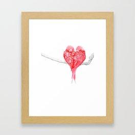 Red Heart Birds Love Framed Art Print
