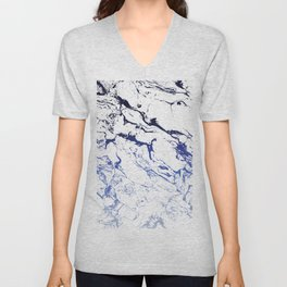 Modern white marble blue ombre navy blue watercolor gradient fade Unisex V-Neck