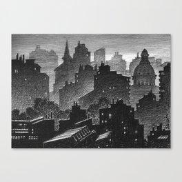 Evening misty town Canvas Print