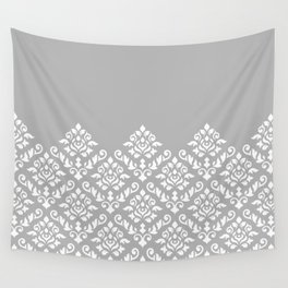 Damask Baroque Part Pattern White on Grey Wall Tapestry