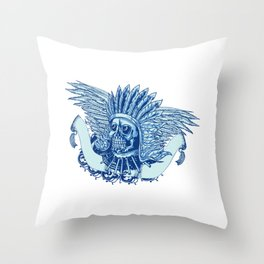 Native American Indian Chief Skull Throw Pillow
