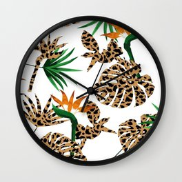 White Leopard Skin On Green Jungle Leaves Print  Wall Clock
