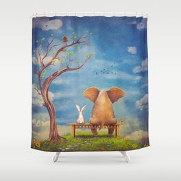 Elephant and rabbit sit on a bench on the glade Shower Curtain