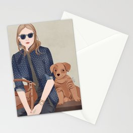 Lady In A Blue Blazer With A Puppy Stationery Cards